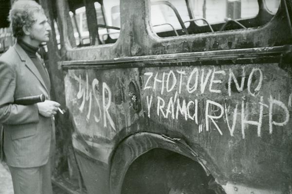 Fotogalerie srpen 1968 - karikatury, letáky, transparenty, nápisy a