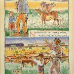 Propagandistický plakát z 50. let: František Boček: Kolektivní hospodaření, rozměry: 90 x 62 cm (zdroj: Muzeum Karlovy Vary)