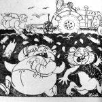 Dobová protikulacká karikatura (noviny Palcát, ročník 1950)