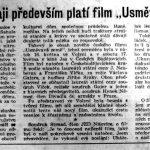 """Článek: Našemu kraji především platí film """"Usměvavá země"""". In: Jihočeská pravda, roč. VIII, č. 21 (23. 5. 1952), s. 8."""
