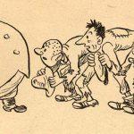 """""""Tvář vesnického boháče"""" (zdroj: SEKORA, O. : O traktoru, který se splašil. Státní nakladatelství dětské knihy, Praha 1951)"""