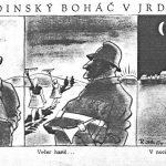 Dedinský boháč v Jednotném roľníckem družstvu (Zdroj: satiricko-humoristický týždenník Roháč, ročník 1952)