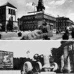 Koláž dvou fotografií zachycující sochu traktoru na Náměstí Republiky v Pardubicích