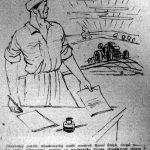 Skica Karla Štecha zachycující traktoristu odhodlaného pomoci při prověrkách v Komunistické straně Československa