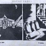 Noční práce v JRD a u kulaka (Zdroj: satiricko-humoristický týždenník Roháč, ročník 1952)