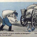 Dobová protikulacká karikatura (Zdroj: Dikobraz 1951)