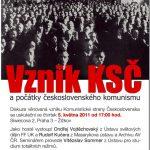 """Pozvánka na seminář """"Vznik KSČ a počátky československého komunismu"""" (ÚSTR, 5.5.2011)"""