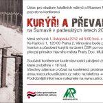 Pozvánka na konferenci Kurýři a převaděči na Šumavě v padesátých letech 20. století (Praha, 01.11.2012)