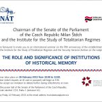 """Invitation to the international seminar """"The Role and Significance of Institutions of Historical Memory"""" (Prague, Senate of the Parliament of the Czech Republic , 02/26/2013)"""