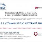 Pozvánka na mezinárodní seminář Role a význam institucí historické paměti (Praha, Senát PČR, 26.02.2013)