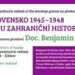 Pozvánka na přednášku Benjamina Frommera: Československo 1945-1948 z pohledu zahraniční historiografie (Praha, ÚSTR, 28.03.2013)