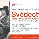 Pozvánka na besedu s Marií Rút Křížkovou: Svědectví, které nemohlo být vysloveno (ÚSTR, 05.09.2013)