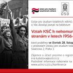 Pozvánka na kolokvium Vztah KSČ k nekomunistickým politickým stranám v letech 1956–1969 (Praha, ÚSTR, 28.11.2013)