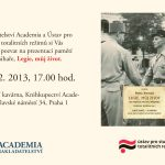 Pozvánka na prezentaci knihy Legie, můj život (Praha, kavárna Knihkupectví Academia, 11.12.2013 od 17.00)