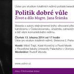 Pozvánka na besedu nad knihou o Janu Šrámkovi (Praha, ÚSTR, 13.03.2014 od 17 hodin)