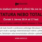 Pozvánka na seminář Diktatura nebo totalita (Praha, ÚSTR, 05.06.2014, 17.00)