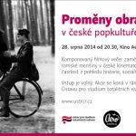 Pozvánka na filmový večer Proměny obrazu Romů v české popkultuře 1956–2011 (Praha, Kino Aero, 28. srpna 2014 od 20.30