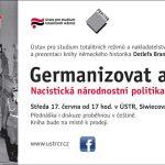 Pozvánka na prezentaci knihy D. Brandese Germanizovat a vysídlit (Praha, ÚSTR, 17.6.2015)