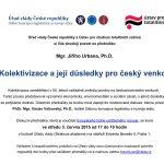 Přednáška Kolektivizace a její důsledky pro český venkov (Praha, Strakova akademie, 3.5.2015)
