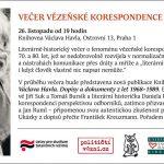 Pozvánka na Večer vězeňské korespondence z dob normalizace (Praha, Knihovna Václava Havla, 26.11.2015)
