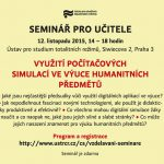 Pozvánka na seminář pro učitele Využití počítačových simulací ve výuce humanitních předmětů (Praha, ÚSTR, 12.11.2015, 14.00–18.00 )