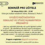 Pozvánka na seminář: Využití počítačových simulací ve výuce humanitních předmětů (Praha, ÚSTR , 18.03.2016)