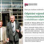 Pozvánka na seminář Odpírání vojenské služby v komunistickém Československu a rehabilitace odpíračů po roce 1989 (Praha, ÚSTR 31.03.2016)