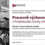 Pozvánka na přednášku o pracovně výchovných táborech v protektorátu Čechy a Morava (Praha, ÚSTR, 02.06.2016)
