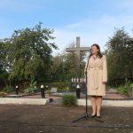 Předsedkyně Žytomyrského spolku volyňských Čechů Ludmila Ciževská během připomínky českých obětí Velkého teroru v Žytomyru.