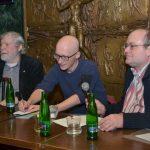Prezentace knihy mezi Marxem a Palackým, Café NONA, 27. února 2019, zleva: Jiří Rak, Maciej Górny, Michal Hrubý z Nakladatelství Volvox Globator