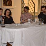"""Beseda """"Obraz činu"""", 5. března 2019, Museum Kampa, zleva: Helena Musilová, Marie Foltýnová, Jan Kolář a moderátor Čeněk Pýcha"""