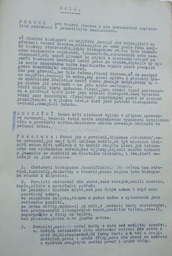 Na fotografii je český překlad první části tzv. mexických fakult z vyšetřovacího spisu kněze Vojtěcha Kodery. Spis je uložen v ABS